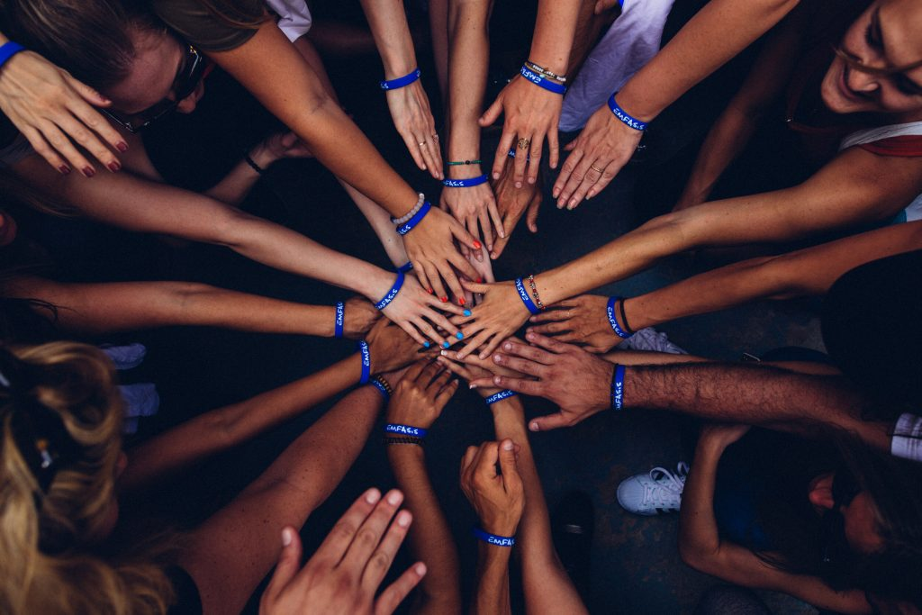 Hands in group